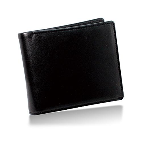 栃木レザー 内LF札入れ 二つ折り財布 ブラック
