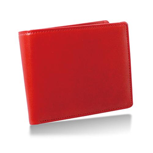 栃木レザー 内LF札入れ 二つ折り財布 レッド