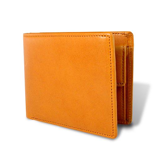 栃木レザー マチ付き 札入れ 二つ折財布 キャメル