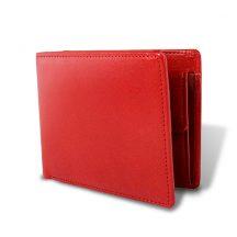 栃木レザー マチ付き 札入れ 二つ折財布 レッド