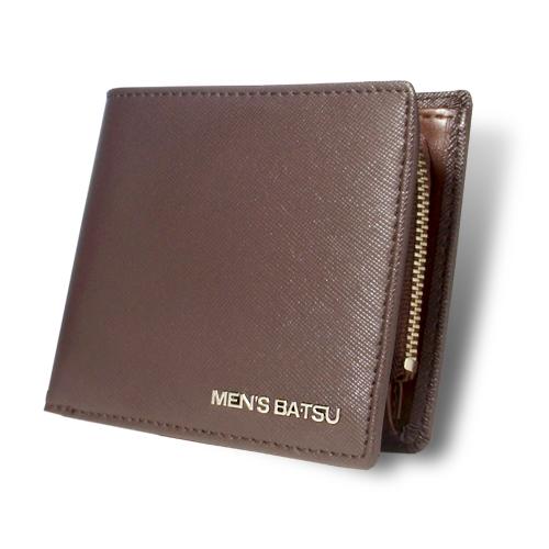 メンズバツ ロゴメタルシリーズ 中LF札入 二つ折り財布 ブラウン