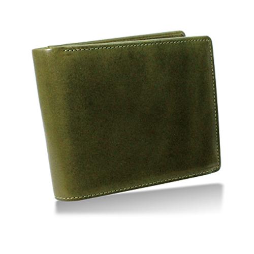 栃木レザー 内LF札入れ 二つ折り財布 グリーン
