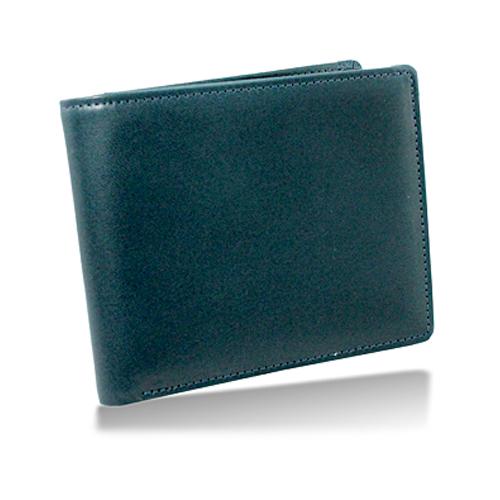 栃木レザー 内LF札入れ 二つ折り財布 ネイビー