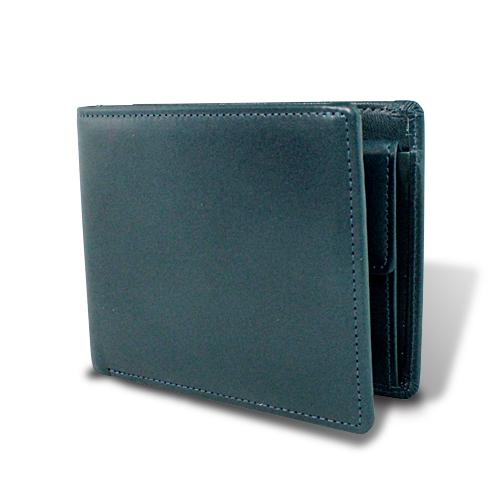 栃木レザー マチ付き 札入れ 二つ折財布 ネイビー