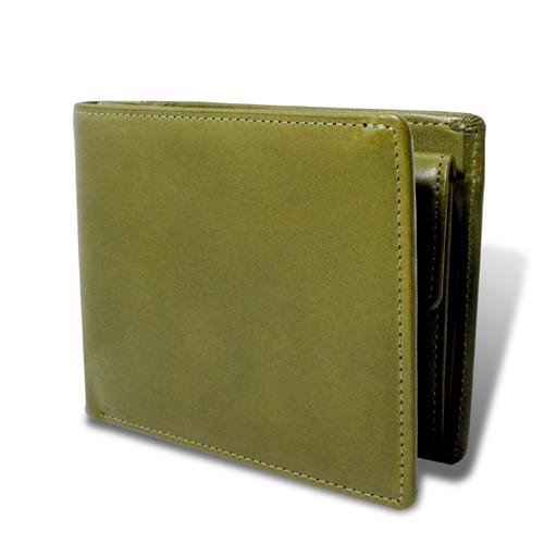 栃木レザー マチ付き 札入れ 二つ折財布 グリーン