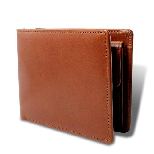 栃木レザー マチ付き 札入れ 二つ折財布 タン