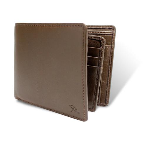 ペコラシリーズ シープスキン ベら札入れ 二つ折り財布 ブラウン