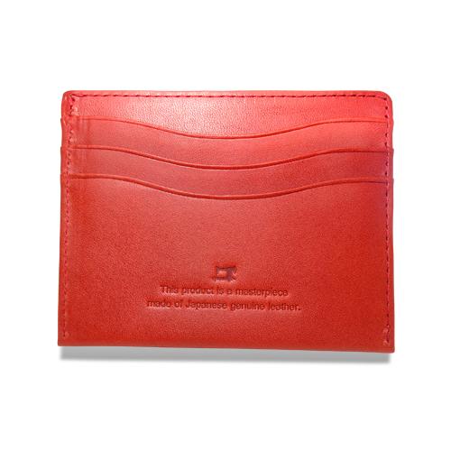 栃木レザー コンパクト 折札入れ 財布 レッド
