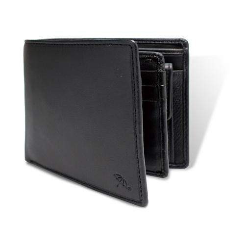 ペコラシリーズ シープスキン ベら札入れ 二つ折り財布 ブラック
